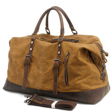 Vintage military Canvas Genuine Leather Women Travel Luggage Bags Brand Duffel Tote Large Leisure Weekend Bag