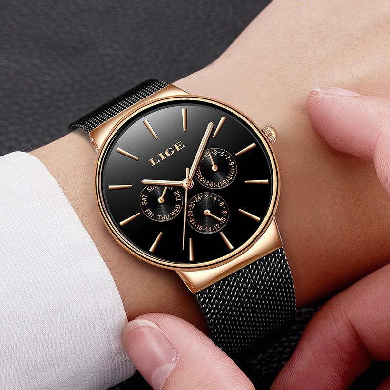 Image 4 - 2019 Watches Women Super Slim Mesh Stainless Steel LIGE Top Brand Luxury Casual Quartz Clock Ladies WristWatch Relogio FemininoWomens Watches   -