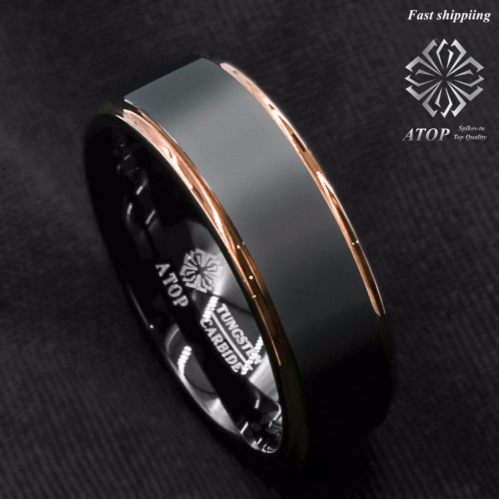 Anel de carboneto de tungstênio rosa ouro preto escovado anel de banda de casamento masculino jóias frete grátis