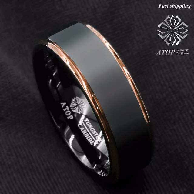 Tungsten Carbide Ring Rose Gold Black Brushed Men S Wedding Band Jewelry Free Shipping