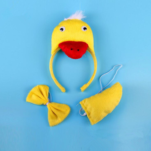 Animal Yellow 3D Duck Headband Tie Tail Set Cosplay Costume Kids Adults  Birthday Party Dress Decoration Halloween Christmas b1881d13c5f