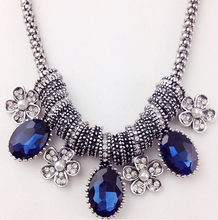 MX0134 New Vintage Crystal Tassel Statement Necklace for Women Silver Color Pendant Collar Maxi Ethnic Jewelry