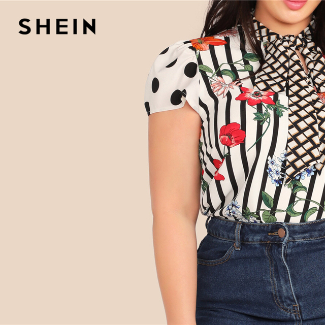SHEIN Plus Size Multicolor Tie Neck Mixed Floral Print Top Blouse Women Summer Elegant Cap Sleeve Stand Collar Striped Blouses 5