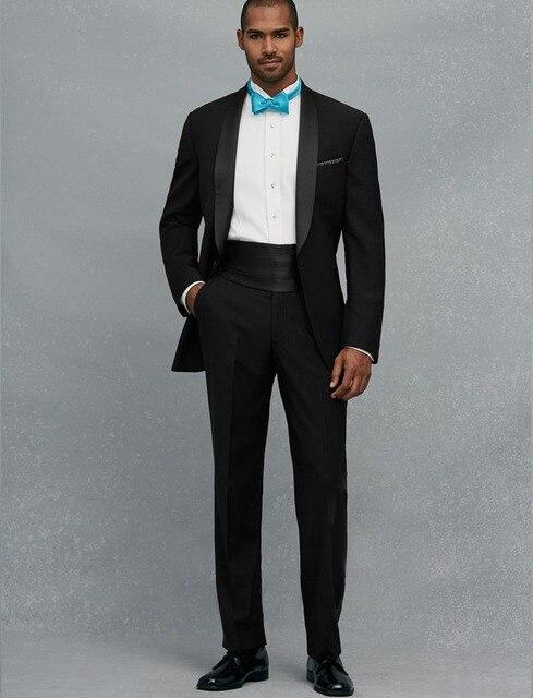 High Quality One Button Black Groom Tuxedos Groomsmen Men\'s Wedding ...