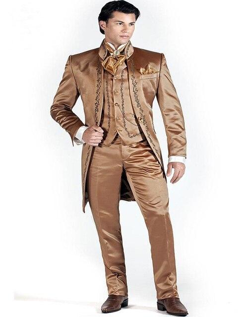 2017 Groomsmen Mandarin Lapel Groom Tuxedos Shiny Brown Men Suits Embroidered Wedding Best Man Blazer