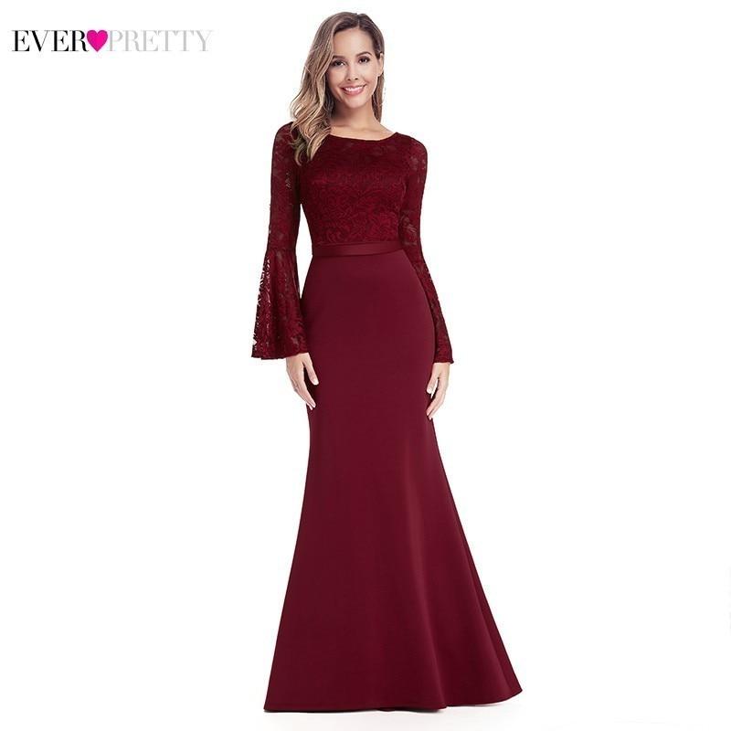 Burgundy Long Prom Dresses 2020 Ever Pretty Mermaid O-Neck Lace Full Sleeve Elegant Women Evening Party Dresses Vestidos De Gala