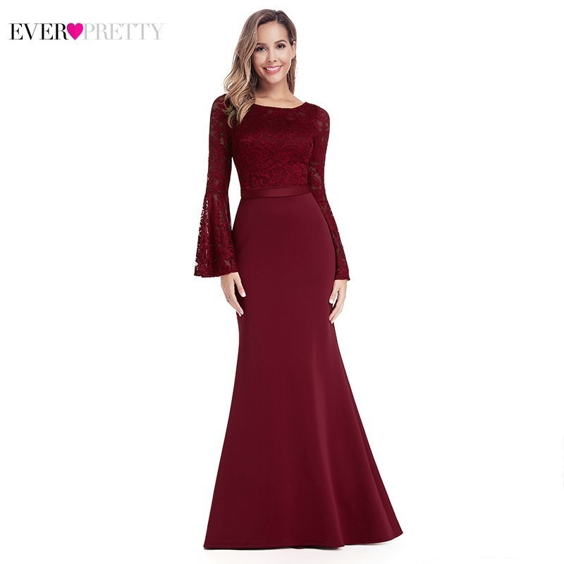 Burgundy Long   Prom     Dresses   2019 Ever Pretty Mermaid O-Neck Lace Full Sleeve Elegant Women Evening Party   Dresses   Vestidos De Gala