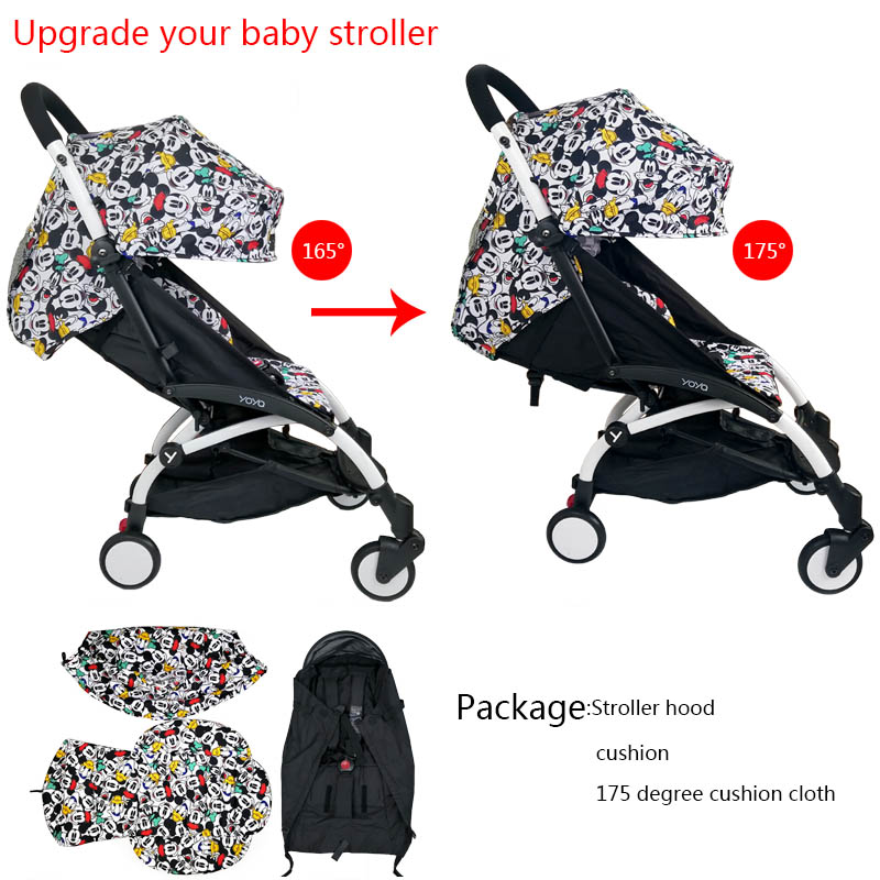 Stroller Hood & Mattress And 175 Cushion Seat Oxford Cloth Back With Mesh Pockets Stroller Accessories For Yoya yoyo Babytime|Strollers Accessories|   - title=
