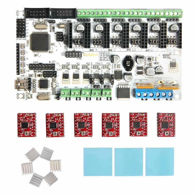 Geeetech hot sale 3d printer control board kits Rumba + 6 X A4988 stepper driver+ 3XHeatsink + sticker free shipping