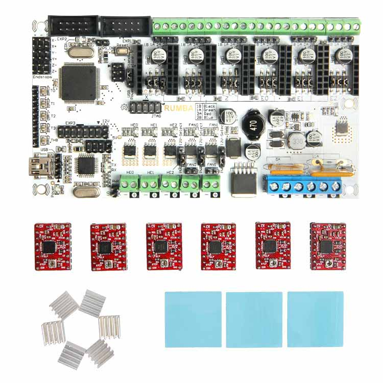 Geeetech hot sale 3d printer control board kits Rumba + 6 X A4988 stepper driver+ 3XHeatsink + sticker free shipping