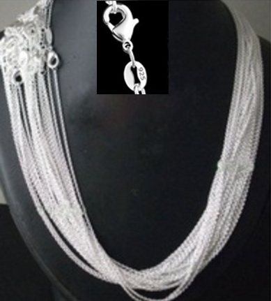 promotion ,wholesale Price 50pcs/lot 925 stamped Silver Plated 1mm Link Rolo Chains 16
