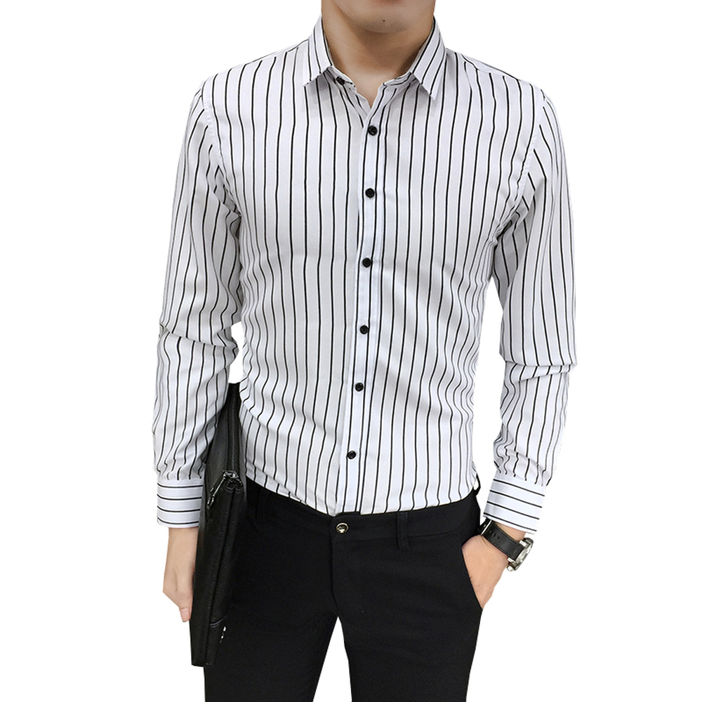 Stripe Shirt Casual Male Slim Fit Mens Business Work Shirts Spring Summer Long-sleeve ha ...
