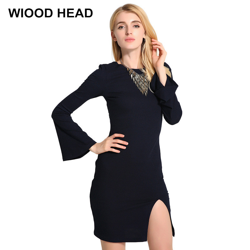 2017 New Casual Long Knitted Sweater Dress Women Sexy Horn Sleeves Cotton Slim Bodycon Female Autumn Winter Halter Knit Dress long sleeves layered swing sweater dress