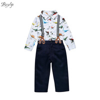 Baby Boy Gentleman 2017 Spring Boys Clothing Set Cartoon Print Clothing For Newborn Boys Clothes For