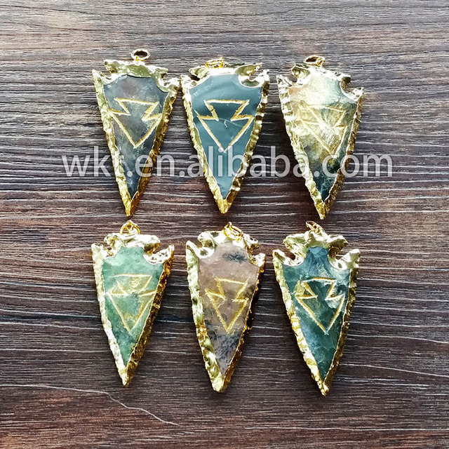 Wholesale 24k gold trim stone arrowhead pendants high quality gold wholesale 24k gold trim stone arrowhead pendants high quality gold trim stone pendants aloadofball Choice Image