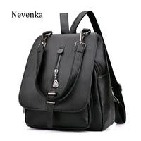 NEVENKA Women Leather Backpack Female Zipper Fashion Style Backpacks Young Girl Casual Shoulder Bag Lidy Softback