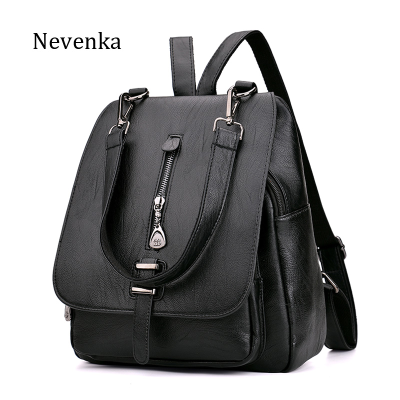 NEVENKA Women Leather Backpack Female Zipper Fashion Style Backpacks Young Girl Casual Shoulder Bag Lidy Softback