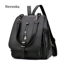 NEVENKA Women Leather Backpack Female Zipper Fashion Style Backpacks Young Girl Casual Shoulder Bag Lidy Softback Solid Hand Bag