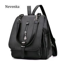 NEVENKA Women Leather Backpack Female Zipper Fashion Style Backpacks Young Girl Casual Shoulder Bag Lidy Softback Solid Hand Bag