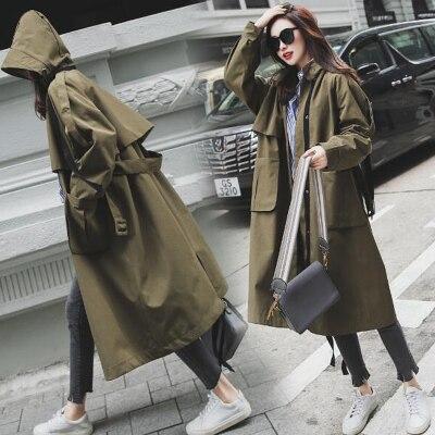 UK Brand New Fashion 2019 Fall /Autumn Women Casual Oversized Large Pockets Loose Trench Coat Chic Female Windbreaker