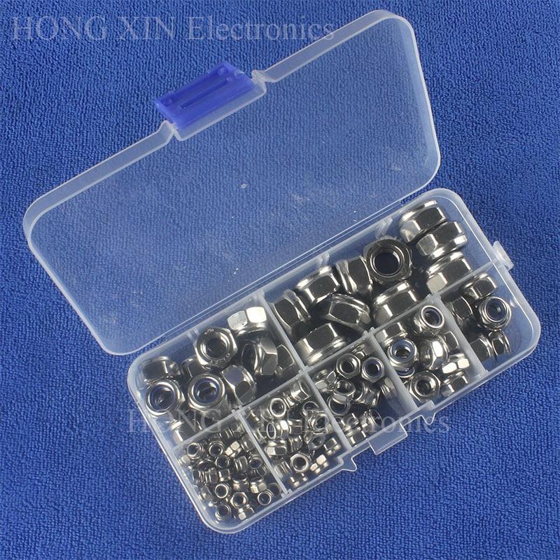 150pcs M3 M4 M5 M6 M8 M10 DIN985 A2 Stainless Steel Nylon Lock Nut Metric Assortment Kit Self-locking Nut 150pcs m3 white hex spacers nylon screw nut washer assortment standoff kit stand off plastic