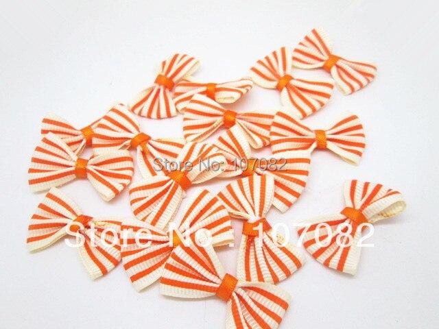 100 шт./лот бежевый с оранжевыми полосами бантом из ленты ...