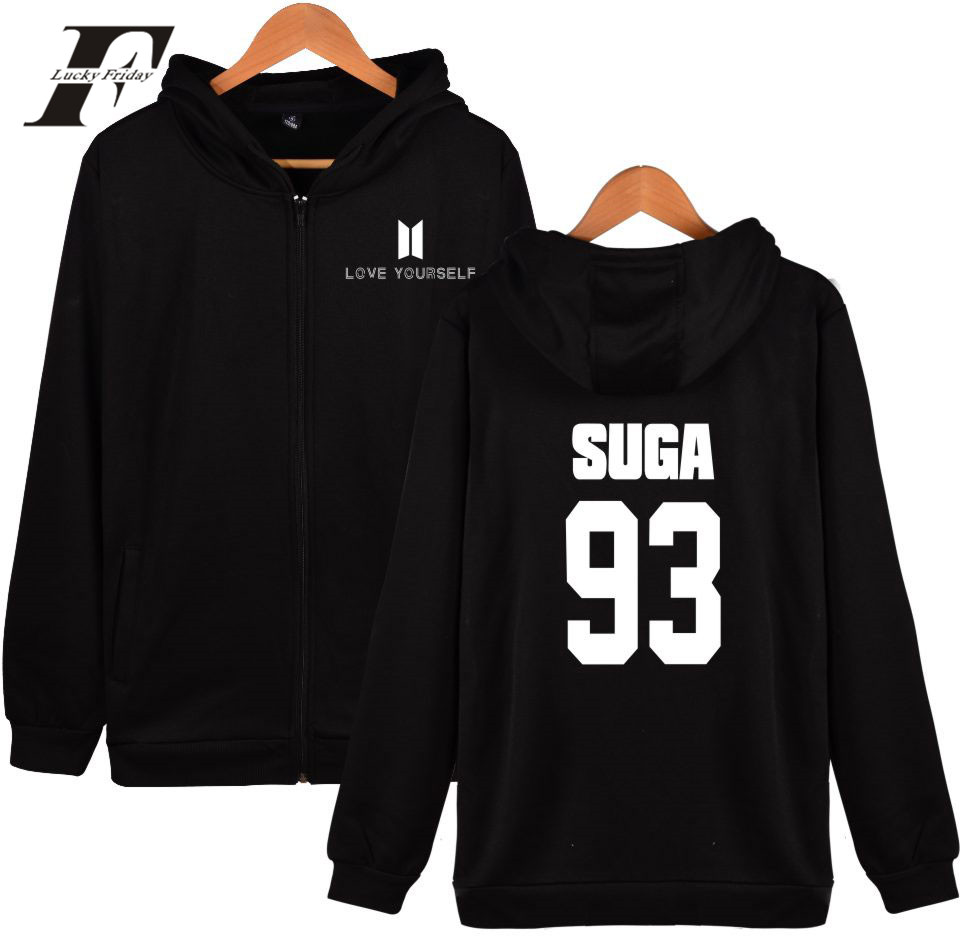 BTS Love Yourself Hoodies Zipper Men Bangtan Kpop Sweatshirt Men Hoodies Casual BTS Hip  ...