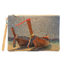 Portugal Natural Cork Handbag Cork Clutch Bag with Boats Printing rustic natural cork wallet for men cork vegan handmade casual wooden eco wallet from portugal bag 200