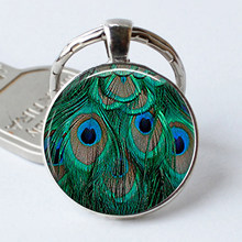 Peacock Feathers Keychain Resin Cabochon Glass Keyring Key Chain Ring(China)