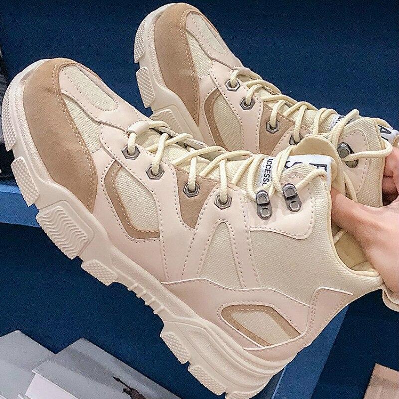 QWEDF 2019 Nova Alta Plataforma Sneakers Calçados Masculinos Respirável Preto não-escorregar sneakers zapatos de hombre de moda Sola Grossa g7-78