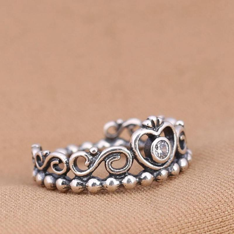 Delicate Crafting 925 Sterling Silver Ring Crown Ring