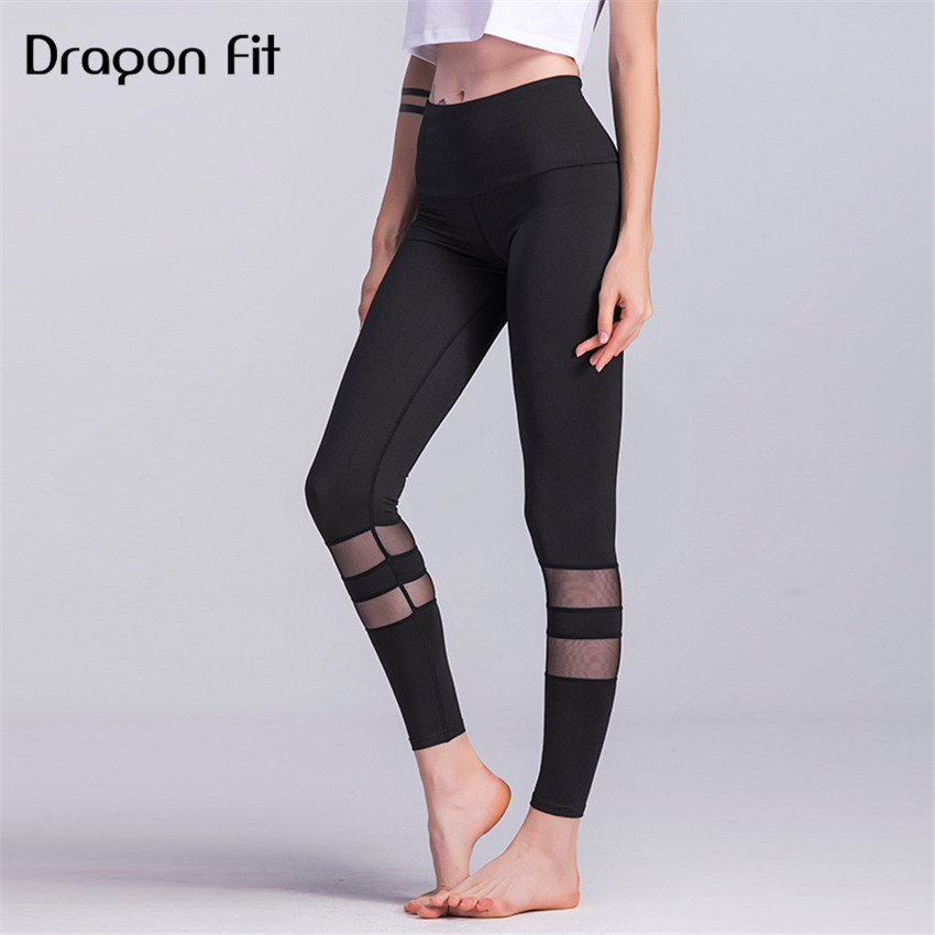 Dragon Fit Net yarn Patchwork Fitness pants Women Running Workout Fitness Sport Leggings Compression Tights Elastic Pants Female