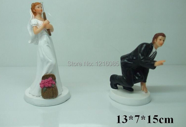 cheap wedding cake toppers fishing funny bride bridegroom figurine cake topper decorations. Black Bedroom Furniture Sets. Home Design Ideas