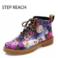 STEPREACH Brand Shoes Woman Women Martin Shoes Flowers Sapato Feminino Zapatos Mujer Talon Pumps Lace Up