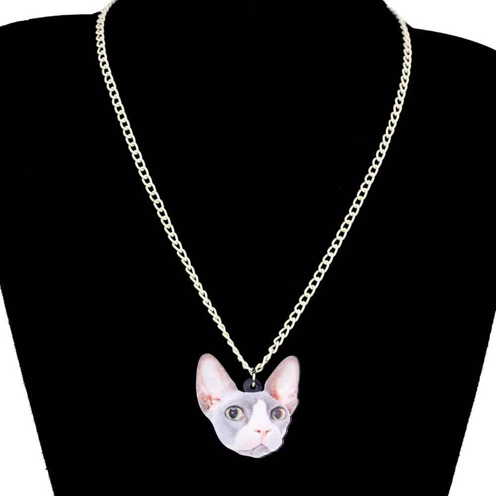 Bonsny акриловые Мультяшные безволосые кошка Сфинкс ожерелье Короткая подвеска на ожерелье ювелирные изделия животных для женщин девочек подростков подарок-аксессуар оптом