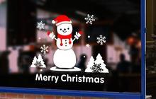 Christmas small elk snowflake gift festival Atmosphere decoration Store shop office door decoration sticker window sticker