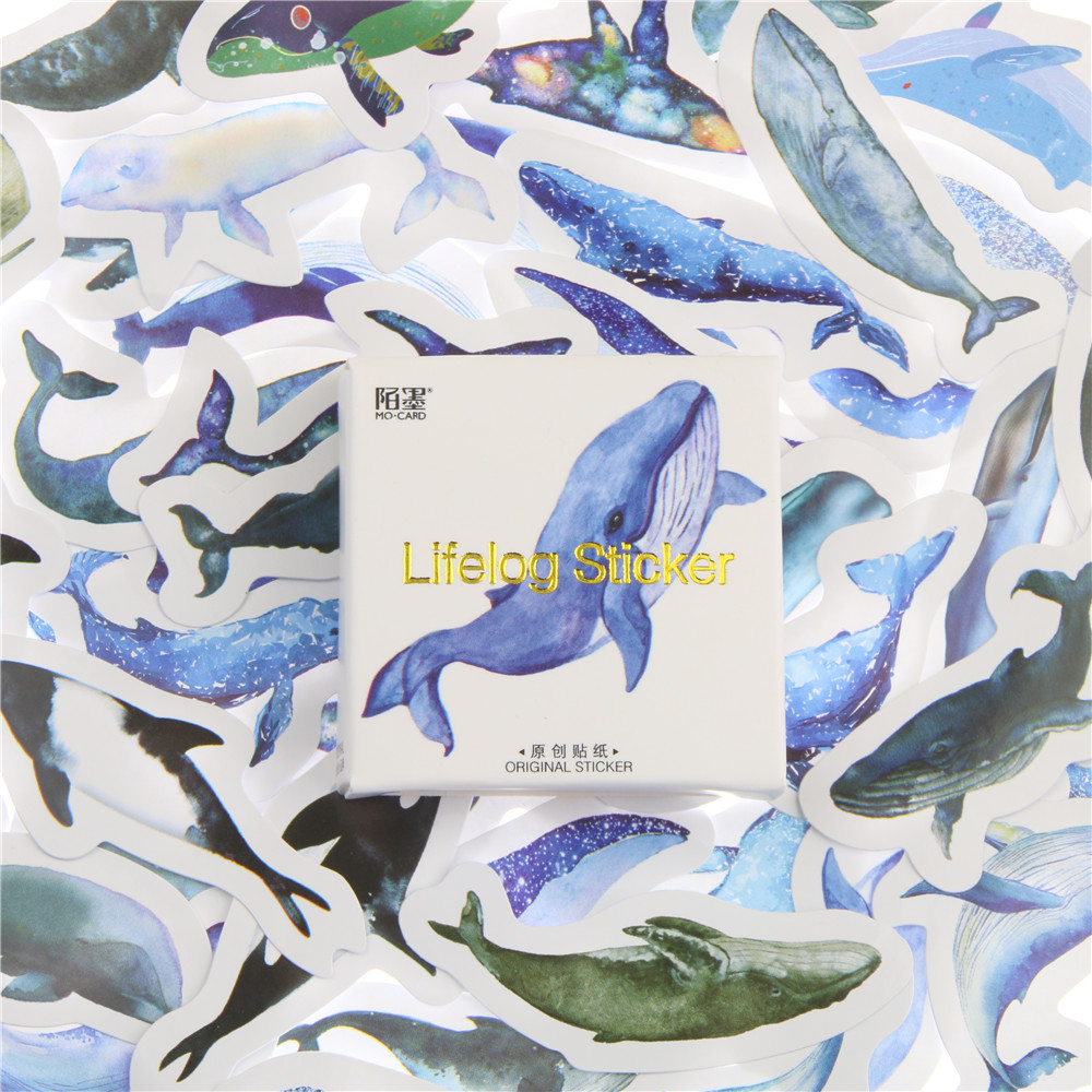45 Pcs pack Animal Blue Whale Fish Mini Paper Sticker Diary Decoration Diy Scrapbooking Label Seal