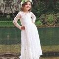 2017 New Hot Branco Lindo Flor Meninas Vestidos Até O Chão Vestidos Primeira Comunhão Vestido Da Menina Princesa Crianças Vestidos