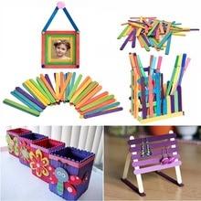 50db Burlywood Popsicle Stick Több méretű Lolly Fagylalt Sticks Természetes Fa Gyerekek Hand DIY Craft Tools Tartozékok Stick