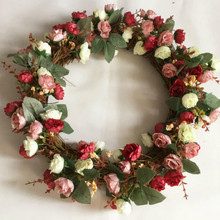 1pc Door Hanging Garland Ornaments Heart-shaped Wreath Love Flower Wedding Christmas Wall Lintel Simulation
