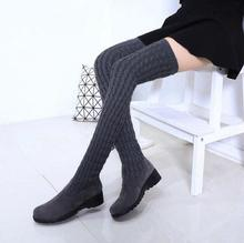 SunNY Everest shoes woman wool winter boots snow sleeve boot lady flat untiskid  knee botas black gray 35-39