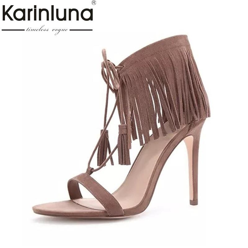 где купить Karinluna Top Quliaty Large Size 33-43 Brand Design Fringes High Heel Sandals Summer Shoes Woman Sexy Women Shoes по лучшей цене