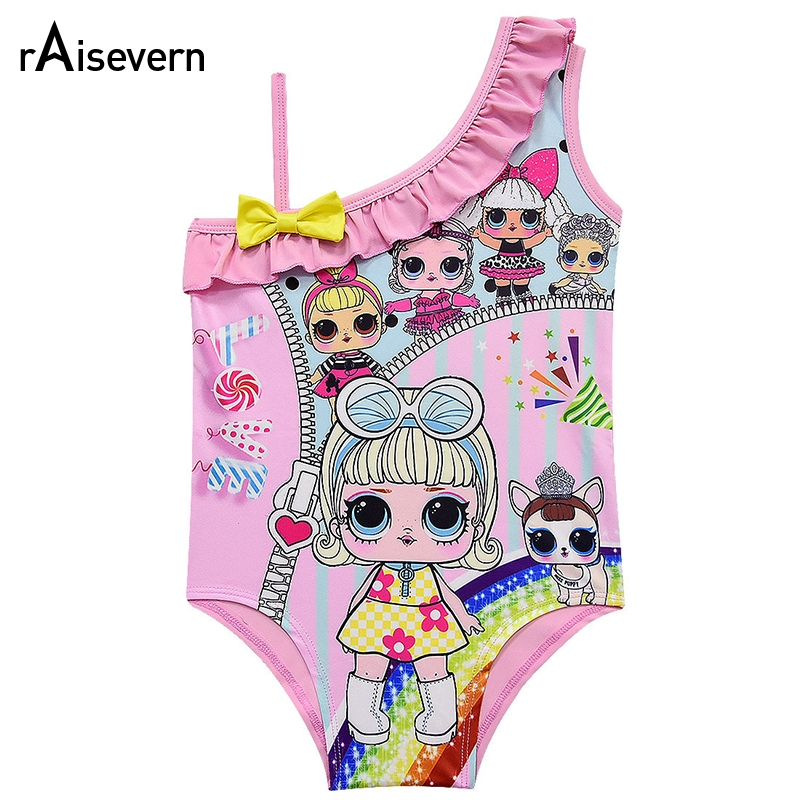 Cute Candy Love Print Girl Swimsuit Kids Lovely 3-10Y Girls Colorful Dolls Cartoon Swimwear Baby Beachwear Bathing Suit Dropship
