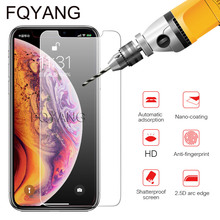 FQYANG 9H Tempered Glass For IPHONE XS MAX XR X 8 7 6S 6 PLUS 5C 5SE 5 5S 4 4S Premium Toughened Protective Film