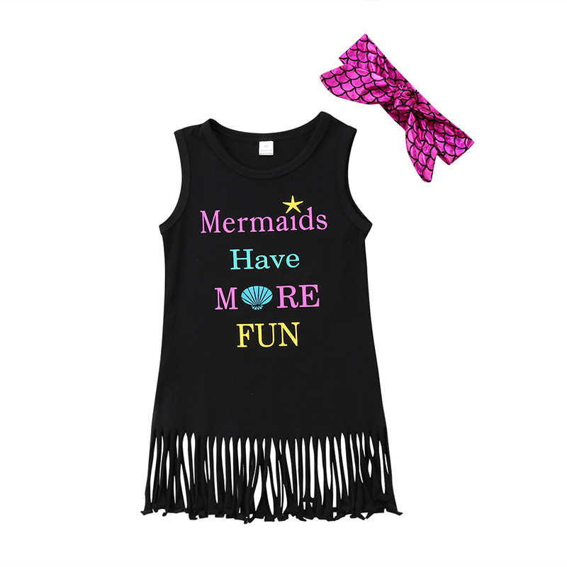 Летнее платье для маленьких девочек платья трапециевидной формы без рукавов с кисточками и рисунком русалки повязка на голову сарафан из 2 предметов, одежда