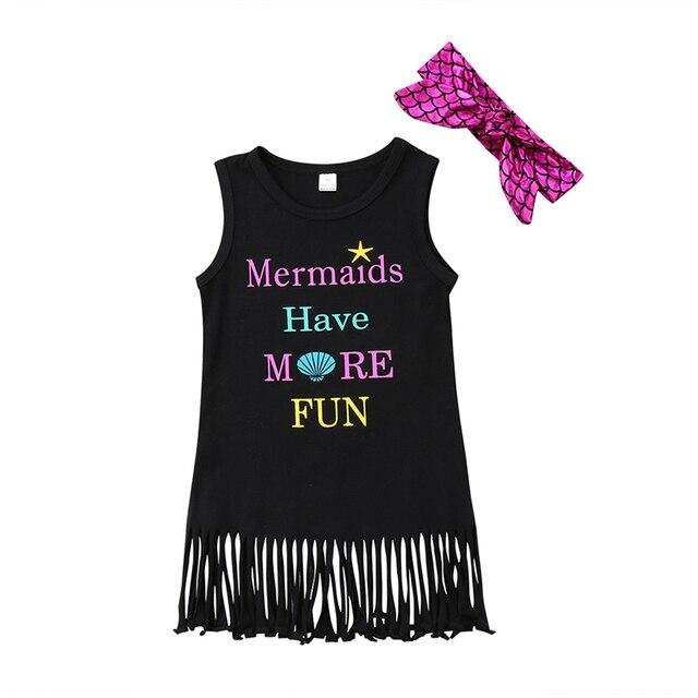 Verano niño niños niña vestido sin mangas de la historieta sirena borla a-line vestidos venda 2 unids sundress ropa