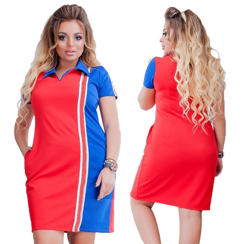 2020 New Designer Maxi Plus Size 6XL Polo Dress T Shirt Ladies Women Dress Summer Oversized Polo Vestidos Patchwork Casual Gift(China)
