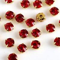 Шить на Горный Хрусталь Красный цвет все размер 3 мм/4 мм/5 мм/6 мм/7 мм серебро Золото коготь база хрустальные камни использовать для DIY аксессу...