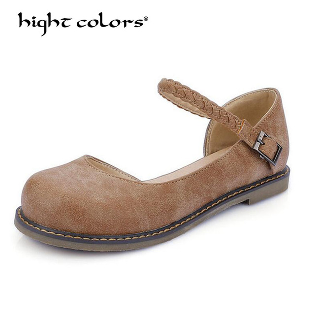 6c6d5d27ded4 Larger Size 33~43 New Fashion Women Buckle Strap Mary Jane Flat Shoes  Casual Round Toe Sweet Slingback Ballet Flat Ankle Strap