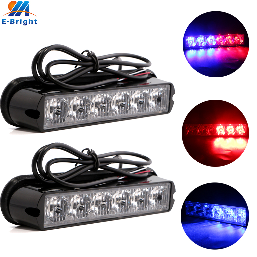 1 Pair Red Blue 6 LED Strobe car styling Police Hazard Beacon Emergency Warning Light Flashing DRL Daytime Running Lamp 12V 24V ...
